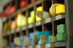 Art Studio: Encaustic Paints - clever storage, and keeping the brushes with their encaustic color...