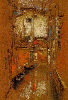 james whistler canal at san cassimo American Impressionism, Post Impressionism, Impressionist, James Abbott Mcneill Whistler, Toned Paper, Chalk Pastels, Art For Art Sake, Pastel Art, American Artists