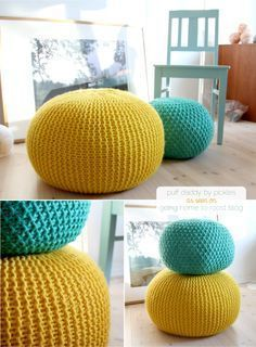 Attention, knitters! will you make me one of these? ;)    we've all seen one fabulous puffy pouf after another, but their beauty and functionality seem to always be accompanied by a hefty price tag. well, if you know how to knit, this pouf pattern from pickles will have you making knitted stools in no time.