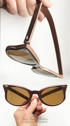 25e7296a661 50's Pin Stripe Woodgrain Cat Eye Sunglasses Pin Up Pinstripe Frames Bronze  Brown Small Petite Eyeglasses Back Thennish Vintage