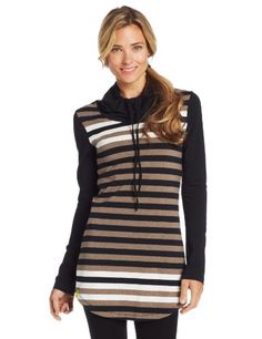 LOLE Women's Principal Tunic Top, Black Multi Stripe, X-Small Lole