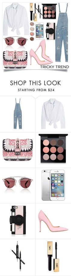 """Everyday-Overalls"" by tamaramanhardt ❤ liked on Polyvore featuring True Religion, Maje, Valentino, MAC Cosmetics, Christian Dior, Kate Spade, Gianvito Rossi, Butter London, Terre Mère and instantjoy"
