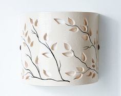 FREE SHIPPING - Ceramic wall-lamp, Hand Painted, Wall-Decor Lighting, Handmade Lamp, Holiday gift, Decorative Lamp, Light (No. N-la-4)