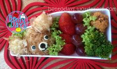 Onigiri covered with bonito flakes to form a fluffy puppy bento