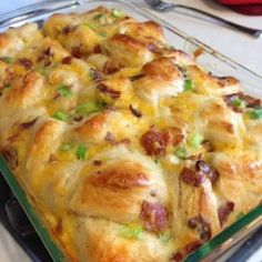 Breakfast Bake Ingredients 5 eggs ¼ cup milk 16 oz  biscuits 4 scallions 1 cup cheese  bacon or cooked sausage  Directions  11×17 pan, sprayed with cooking spray   1. Mix eggs and milk in bowl. Cut  biscuit  in fours and add to bowl. Let biscuits  soak in the eggs. add scallions, cheese, and  bacon to the bowl.  Mix & pour into pan. Bake  350 for 25 mins