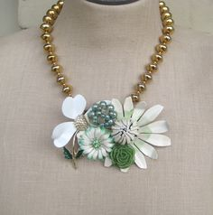 "White Green Vintage Brooch Collage necklace Sage Mint Flower Power Shabby Chic ""Lotus Blossom""OOAK. $76.00, via Etsy."
