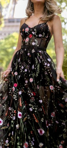 Embroidered floral bustier gown