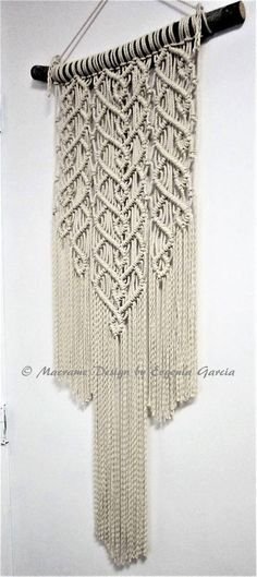 Macrame wall hanging - Sprigs #6 - unique and stylish wall decor for your wedding, home or office. Great for photo zone. Real pine branch from the Hill Country ranch, cotton ropes. 100% natural item. Original idea, design and handmade by Evgenia Garcia. Rope color: natural Dimensions:
