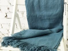 Linen Bed Throw Turquoise Full/Twin Size by VelvetValley on Etsy