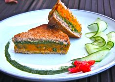 Sweet potato samosa sandwich by Mira Manek