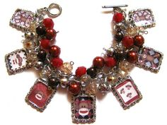 Sock Monkey Altered Art Fashion Charm Bracelet Red Brown Silver