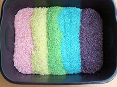 Create Kool-Aid dyed rice with this #DIY. It makes an awesome addition to sensory bins and art projects.