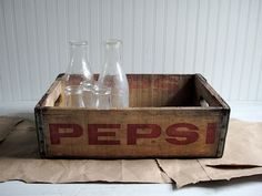 Large Vintage Wooden Pepsi Crate