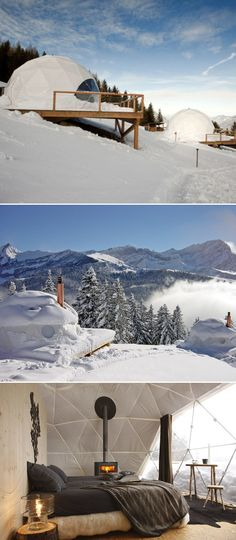 Whitepod - glamping in the Swiss Alps  Wish I could go snowboarding in Switzerland again!