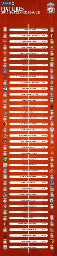 Graphic: Liverpool's complete 2015-2016 Barclays Premier League fixture list - Liverpool FC