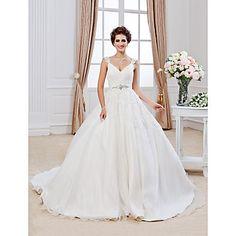 Lan Ting Ball Gown Plus Sizes Wedding Dress - Ivory Chapel Train V-neck Organza – USD $ 189.99