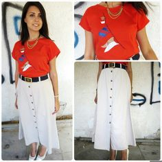 Vintage woman red T shirt with flags applique by girlsaboutcity