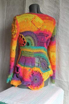 Hippie Crochet, Freeform Crochet, Knit Crochet, Rowan Felted Tweed, Crochet Fairy, Rainbow Fairies, Crochet Woman, Mori Girl, Crochet Clothes