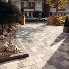 Paving Designs For Front Gardens during construction block paving showing different bonds and colours garden design block Stonemaster Block Paving Kit 102m Mid Grey Washed Random 5015111213145 Driveway Pavingdriveway Ideasgarden