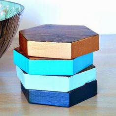 Protect your furniture with these easy to make, DIY wood hexagon coasters.