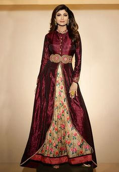Embroidered Art Silk Jacket Style Abaya Suit in Maroon