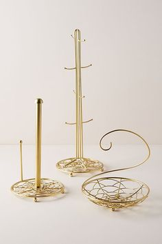 Scalloped Mug Tree by Anthropologie in Gold, Kitchen Fork Jewelry, Jewelry Stand, Cute Furniture, Mug Tree, Berry Baskets, Paper Towel Holder, Gold Paper, Cleaning Wipes, Projects To Try