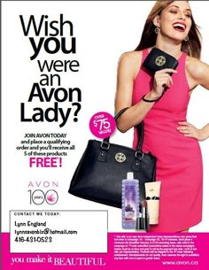 $50 bonus when you become an Avon lady!  Place a $100 order and pay for it on time to receive your FREE gift!!  Products change regularly!! Contact me at lynnsavonbiz@hotmail.com today!