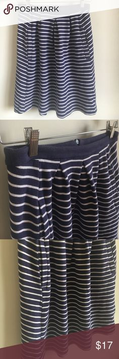 """Boden cotton blue and white striped skirt Cute nautical skirt by Boden. Thick cotton with pockets. Slight fading on waist band. Size 10 UK, 6 US. Laying flat measures approximately 14"""" at the waist and 20"""" long. Boden Skirts A-Line or Full"""