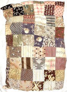 "Antique Hand Sewn Patchwork Doll's Crib QUILT Early Fabrics Cotton Stuffing, 10 x 15"", eBay, haiku2"