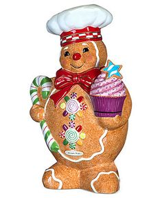 Christopher Radko Gingerbread Man Decked Out for the Christmas Holiday Cookie Jar. Cute Christmas Cookies, Christmas Jars, Cute Cookies, Christmas Gingerbread, Holiday Cookies, Gingerbread Cookies, Gingerbread Crafts, Christmas Decorations, Gingerbread Houses