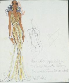 """Felt pen on paper sketch inscribed """"citron yellow bugle beaded on the bias over nude chiffon, Now you see it - Now you don't, Bob Mackie."""" Additionally inscribed in pencil by Sonny Bono """"Sonny X"""" indicating his approval. Sold by auction. Cher Costume, Fashion Sketches, Fashion Illustrations, Fashion Drawings, Hollywood Fashion, Hollywood Style, Burlesque Costumes, Bob Mackie, Harpers Bazaar"""