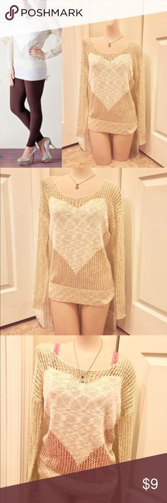Sheer knit heart sweater 💕 Adorable, light weight knit cream colored sweater with heart accent. Looks super with any colored tank or cami underneath. Would also be a cute swimsuit cover up. NWT Tops Tees - Long Sleeve