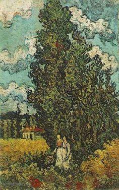"""Painting+""""Cypressen+en+twee+vrouwen""""+by+Vincent+van+Gogh+-+www.schilderijen.nu"""