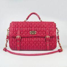 Miu Miu Red Matellasse Sheepskin Handbags