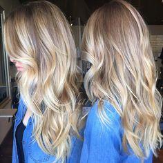 dark beige blonde to a bright beige blonde and beach waves. love #hairbymarissamae