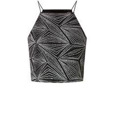 The Black Sparkle Diamond Crop Top - New Look