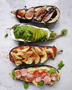 Roasted Eggplant Four Ways: Tahini, Figs & Balsamic; Avocado & Sorrel; Marinara, Marinated Artichokes & Dukkah And Hummus Tomato