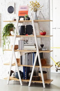 west elm offers chic storage with our selection of bookshelves & modern bookcases. Find contemporary bookshelves, perfect for showing off pictures & books. Ladder Bookshelf, Bookshelf Styling, Diy Ladder, Triangle Bookshelf, Triangle Shelf, Bookshelf Ideas, Shelving Ideas, Home Design Decor, Home Catalogue