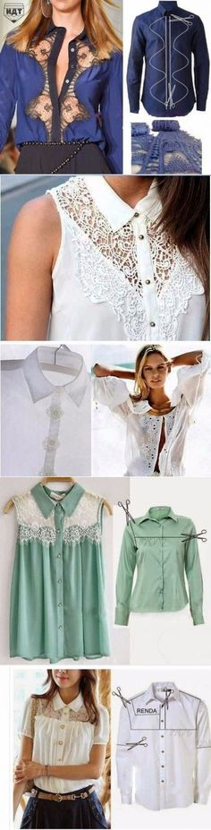 New Sewing Clothes Refashion Remake Blouses 41 Ideas Diy Clothes Refashion, Shirt Refashion, Diy Shirt, Diy Fashion, Ideias Fashion, Diy Kleidung, Diy Vetement, Diy Mode, Altered Couture