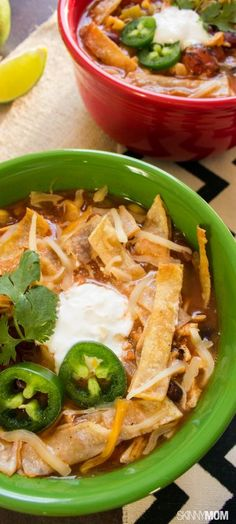 Try out our skinny crock pot chicken tortilla soup recipe for dinner tonight!