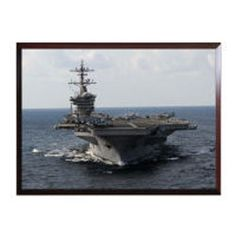 You will be impressed with how detailed and vibrant this High Definition framed photo of the USS Carl Vinson is.   These ready to mount photo plaques are 100% Made in the USA, are 9x12 inches in size and come with either a black or cherry wood finish.  The image itself is high definition, scratch resistant, can be cleaned with abrasive cleaners & will last well over a 100 years as long as it is not stored in direct sunlight.