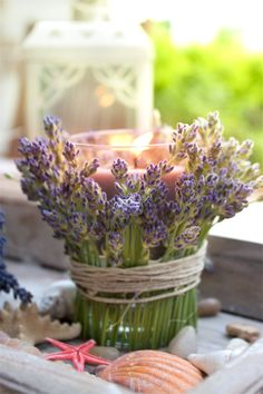See the photo of Weltenbummler titled Romantisceh Table Decoration with Lavender and it also smells great and other inspiring pictures on the . Lavender Crafts, Lavender Cottage, Sola Wood Flowers, Cute Wedding Ideas, Al Fresco Dining, Deco Table, Flower Bouquet Wedding, Floral Arrangements, Bloom