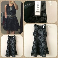 """Romeo+Juliet Couture dress! Breathtaking dress!  Perfect cut, flattering.  Love the romantic A-line with the mesh and flower patterns contrasted with the toughness of the leather and the black.  One tough cookie!  Runs large for a S, I think.  Bust 36"""", waist 30"""", shoulder to hem 34"""" long.  I'm 5'4"""" 125lbs.  NWT!  Bag modeled (Betsey Johnson) also for sale, in another listing.  Romeo & Juliet Couture Dresses"""