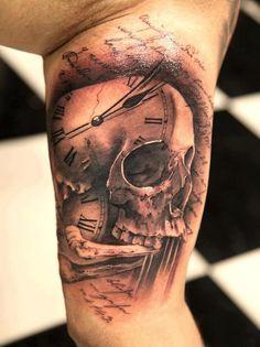 skull clock tattoo | Skull + clock face + script tattoo | Tat Me Up Baby