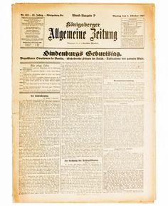 1927 German president Hindenburg 80th birthday newspaper Koenigsberg Kaliningrad