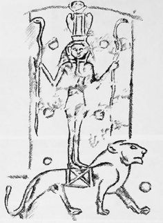 The goddess Asherah (Qudshu) standing on a lion and holding two serpents. This plaque was carved by Syrians living in Egypt in the 7th century B.C. (Drawn from original photo)