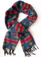 Blue Aztec Print Winter Scarf