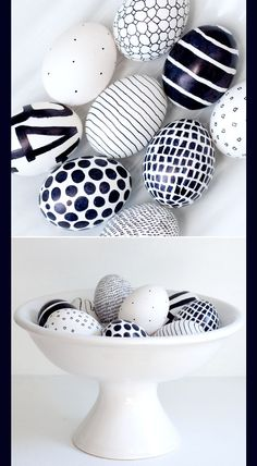 Black & White Egg decorations or a bowl of rocks maybe those nice smooth ones from the beach.