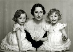 1936, Crown Princess Martha of Norway the wife of Crown Prince Olav (Olaf) of Norway, pictured with their daughters Princess Ragnhild, aged 6 and Princess Astrid, aged 4