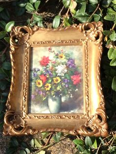 Vintage Gold Ornate Framed Floral Picture by YellowHouseDecor